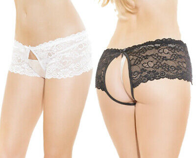 Coquette Bridal Scalloped Lace Crotchless/Backless Panty Knickers/Briefs • 13.95£