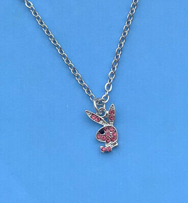 £7.50 • Buy Womens Playboy Bunny Rabbit Pink Silver Stainless Steel Pendant Necklace Chain
