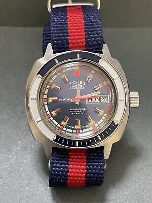 £723.13 • Buy Vintage Swiss KROSE WATCH CO SUBMARINE AUTOMATIC Blue Dial  Rotating Bezel  R35
