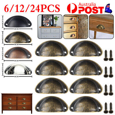 AU12.75 • Buy 6-24X Cupboard Door Cabinet Cup Drawer Furniture Retro Antique Pull Shell Handle