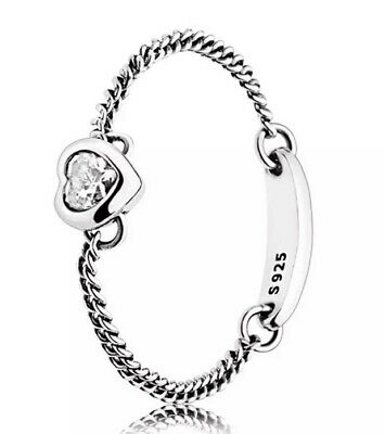 AU30 • Buy Pandora Spirited Heart Silver  Chain Ring Size 8 White Stone With Pandora Pouch