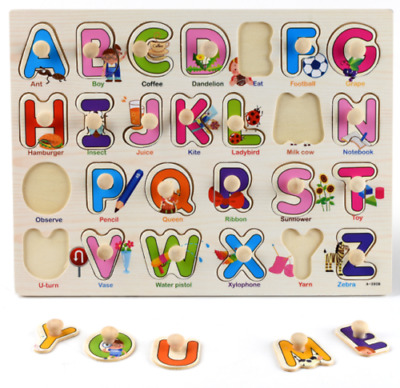 £5.49 • Buy New Baby Toddler Jigsaw Kids Puzzle Alphabet Letters Animal Wooden Learning Toys