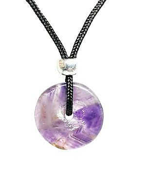 £3.95 • Buy Amethyst Donut Disc Pendant Crystal Protection Gemstone Cord Bead Necklace