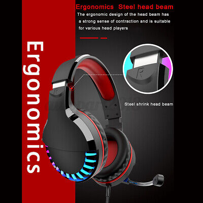 AU19.98 • Buy Gaming Headset USB Wired LED Headphones Stereo With Mic For PC Desktop & Laptop
