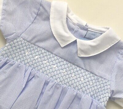 £10.79 • Buy Baby Boys Spanish Style Blue White Smocked Collared Romper Suit 6-9M