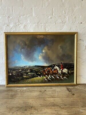 £300 • Buy Large Oil On Board Equestrian Shropshire Hunt Scene Hunting Painting Signed