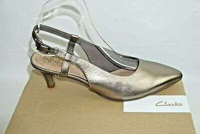 £16.99 • Buy Clarks Linvale Loop Pewter Leather Sling Back Shoes Uk Size 6 D. Unused & Boxed