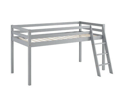 £109.99 • Buy Kids Bunk Bed Mid Sleeper Wooden Pine Cabin Bed With Ladder Storage Space Grey