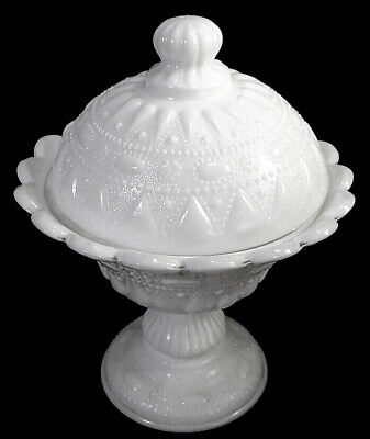 $25 • Buy KEMPLE White Glass Compote / Candy Dish W/ Lid - Lace & Dewdrop 8 1/2  MINT