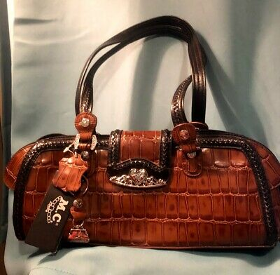 $42.99 • Buy M.C. Marc Chantal Hand Bag Purse Brown Leather Fob Western Detail NWT Style 6278