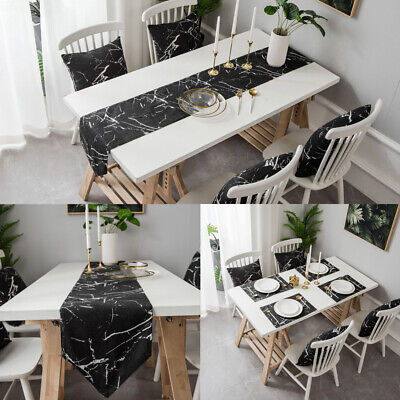 AU18.99 • Buy Marble Printed Table Runner Placemat Table Cover Dining Party Kitchen Home Decor