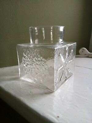 £18 • Buy Dartington Glass Clear Square  Posy Vase   FT2   60s Frank Thrower