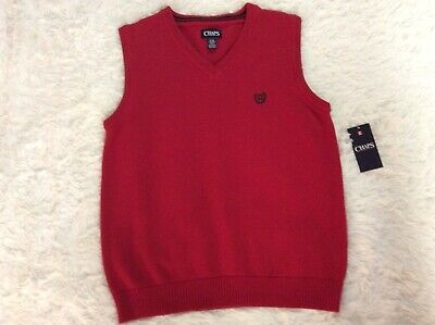 $17 • Buy Chaps Sweater Vest Soft Cotton Classic Red V-Neck Embroidered Logo Boys Large