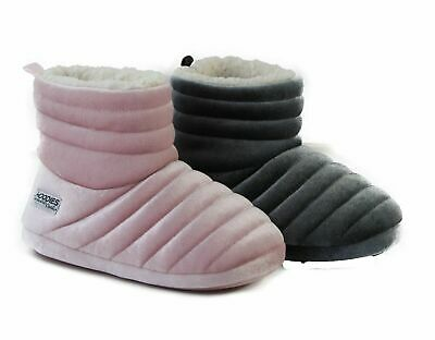 £17.88 • Buy Womens Grosby Hoodies Boots Dark Grey Pink Puffer Slippers - Size S M L Xl