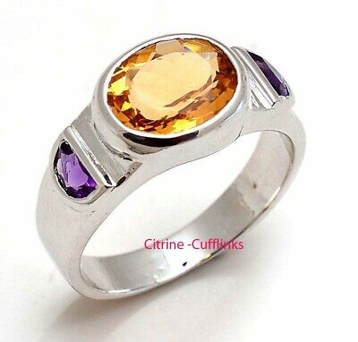 £63 • Buy Natural Citrine & Amethyst Gemstone With 925 Sterling Silver Ring For Men's