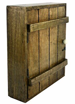 £35.99 • Buy Wooden Key Cabinet Wall Mounted Country Style Storage Safe Cupboard With 6 Hooks