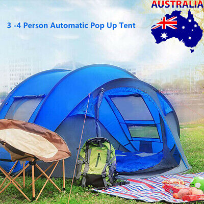 AU139 • Buy Waterproof Instant Pop Up Camping Tent 3-4Person Pop Up Tents Family Hiking Dome