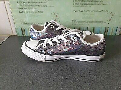 £23 • Buy Womens Silver Sequin Converse All Star Size 4