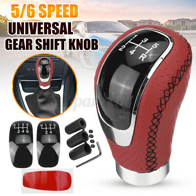 AU19.99 • Buy 5/6 Speed 3 Cap Red PU Leather Car Gear Shift Lever Shifter Stick Knob Manual