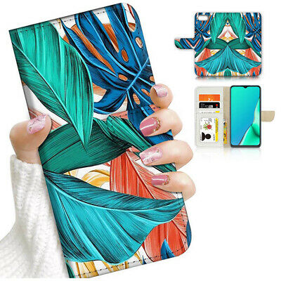 AU12.99 • Buy ( For Oppo A57 ) Wallet Flip Case Cover AJ24196 Tropical Palm