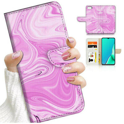AU12.99 • Buy ( For Oppo A57 ) Wallet Flip Case Cover AJ24308 Pink Abstract