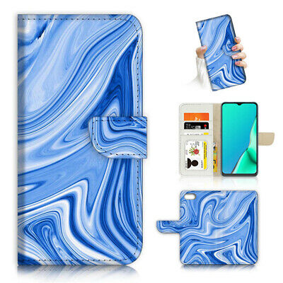AU12.99 • Buy ( For Oppo A57 ) Wallet Flip Case Cover AJ24312 Blue Abstract