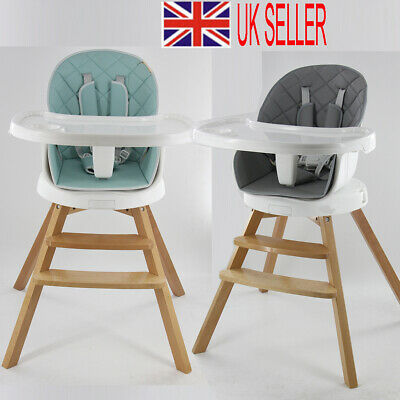 £45.81 • Buy 4in1 Wooden Baby High Chair 360° Rotatable Turntable Recline Feeding Seat Table