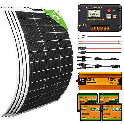 £139.99 • Buy 100w 200w 500w Flexible Solar Panel Charge Kit Marine Caravan Charger Controller
