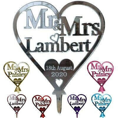 £9.99 • Buy Personalised Wedding Cake Toppers Mr And Mrs Love Heart Cake Topper Decoration
