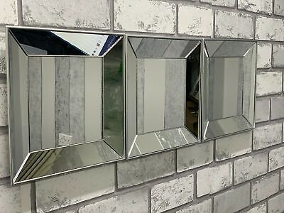£16.50 • Buy Set Of 3 Contemporary Square Silver Mirror Decorative Wall Bevelled Mirror 25 Cm