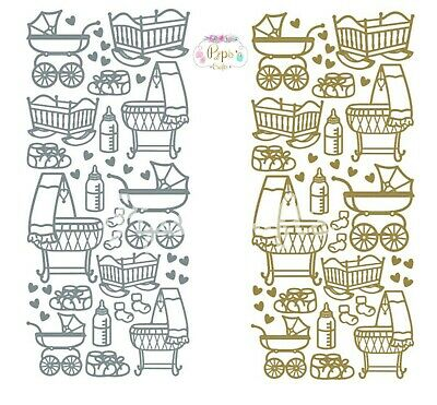 Baby Peel Off Sticker Sheet  Prams, Cots, Bootees Card Making Craft  Silver Gold • 1.39£