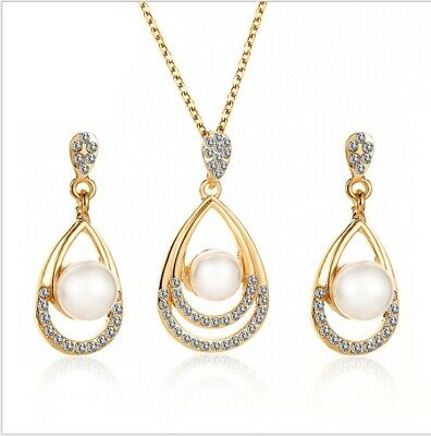 £3.99 • Buy Pearl Crystal Prom Wedding Party Diamante Bridal Jewellery Earrings Necklace Set