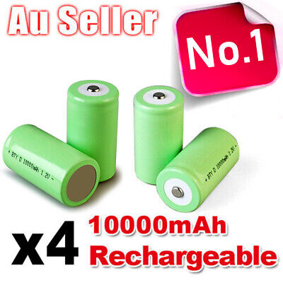 AU24.65 • Buy 4x 10000mah D Size NI-MH Rechargeable Cell Battery 10000-mah NIMH Batteries 1.2V