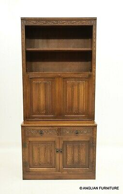 £347 • Buy Old Charm Bureau Bookcase With Green Leather Writing Surface FREE UK Delivery*