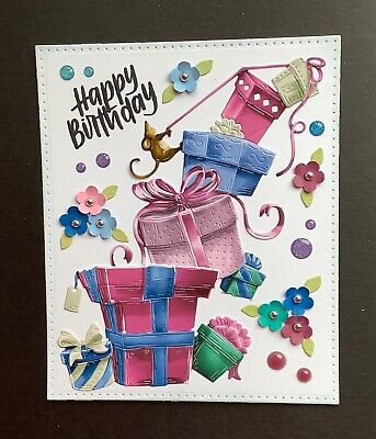 £1.99 • Buy Handmade Birthday Card Topper...gifts, Mouse, Flowers.  A