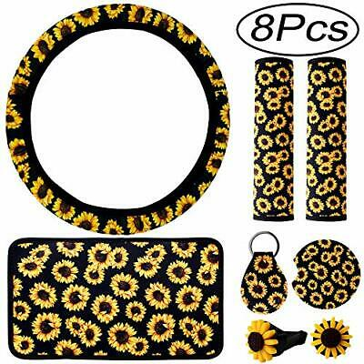 $10.54 • Buy 8 Pieces Sunflower Car Accessories Sunflower Steering Wheel Cover For Women