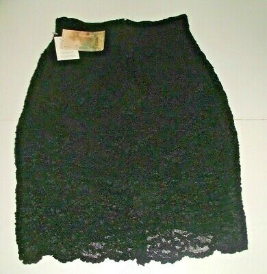 £12 • Buy RIVER ISLAND Black Lace Stretch Skirt CHARLOTTE HALTON Vintage 90s New With Tags