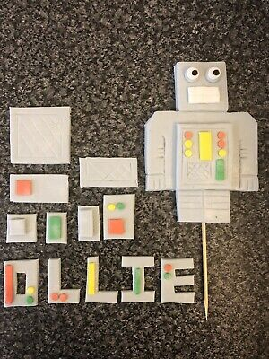 Edible Robot Cake Topper Kit . Decorate Your Own Cake For Children's Birthdays • 11.50£