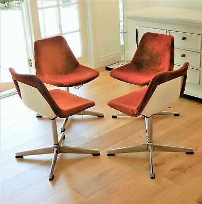AU490 • Buy 4 X Genuine Robin Day 1970's Mid-century Retro Swivel Arm Chairs By HILLE