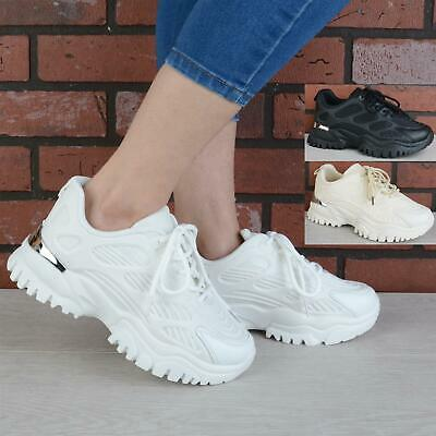 $ CDN34.60 • Buy Womens Ladies Chunky Trainers Platform Sneakers Lace Up Sport Women Shoes Size
