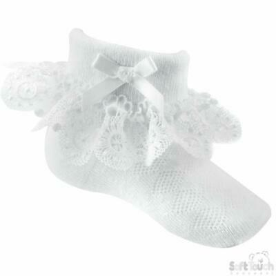 £3.69 • Buy Soft Touch Baby Girls Pretty White Lace & Bow Short Frilly Ankle Socks 0 - 12 M