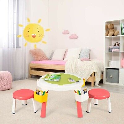 £51.99 • Buy Adjustable Children's Activity Table And Chairs Set Lego Top Kids Pink Play Desk