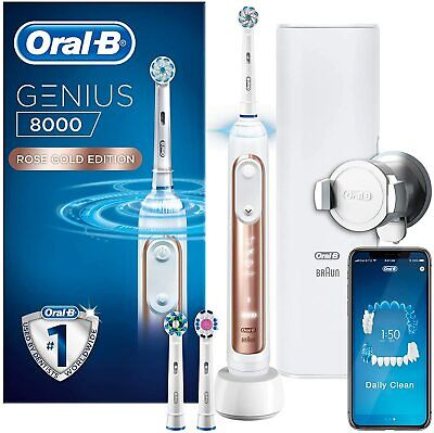 AU277.28 • Buy Oral-B Genius 8000 Electric Toothbrush Rechargeable Powered By Braun - Rose Gold