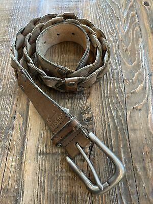 $24.99 • Buy Fossil Mens Distressed Look Braided Belt S Leather Fits 36  Waist 1.5