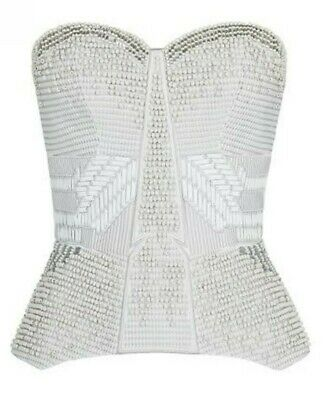 AU169 • Buy Sass And Bide Mood To Moment White Silver Cream Beaded Bustier Corset 12 14 US10
