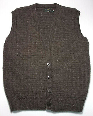 $29.99 • Buy Vintage Orvis Natural Wool Basket Weave Button Sweater Vest Cardigan Mens Small