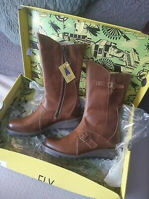 LADIES Camel BROWN LEATHER FLY LONDON MES 2 MID CALF BIKER BOOTS, UK 5. BNWT • 85£