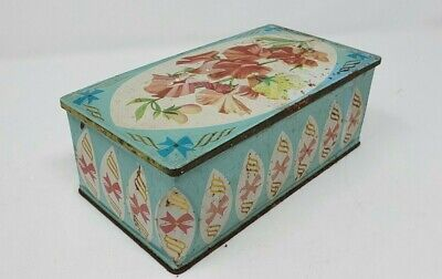 Pretty Vintage Weston Biscuit Tin - Turquoise With Pink Bows + Sweet Pea Design • 5£