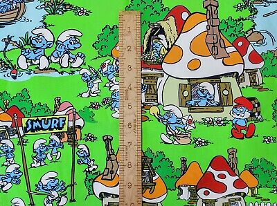 Custom 100% Cotton Woven Smurfs TV Show By The 1/4 Yard SHIPS FAST!!! • 10.14£