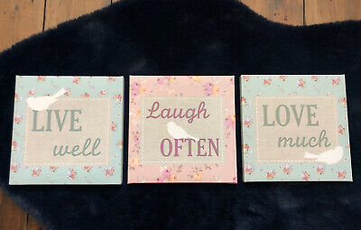£3.75 • Buy Set Of 3 Canvas With The Quotes 'live Well', 'laugh Often' & 'Love Much'